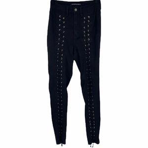 Fashion Nova Black Lace Up Skinny Jeans size 3